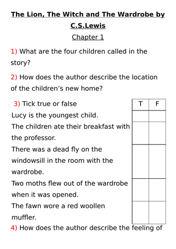 The Lion, The Witch and The Wardrobe - Guided reading planning ...