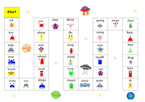 Phonics game boards EYFS KS1 Phase 2-5  RWI set 2-3 nonsense/ pseudonym words + snap cards.