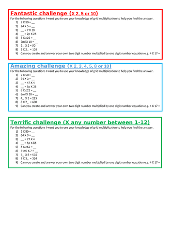 multiplying 1 and 2 digit numbers LKS2 Maths weeks planning and resources  - Formal Multiplication