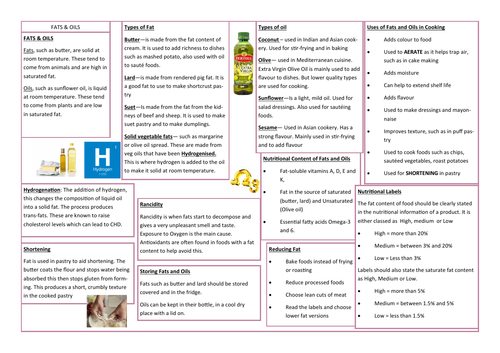 FATS AND OILS REVISION AID/KNOWLEDGE ORGANISER