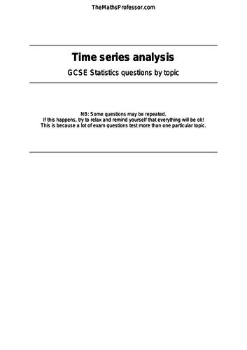 GCSE Statistics - Time series