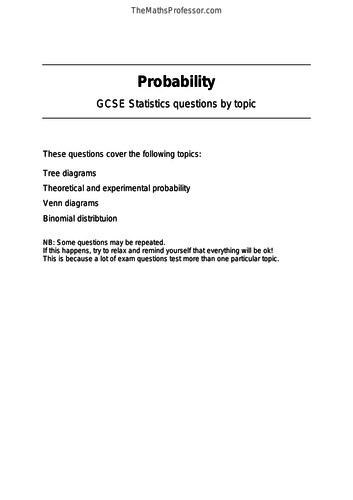 GCSE Statistics - Probability by TheMathsProfessor