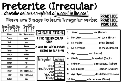 Spanish Preterite Tense Worksheet - Irregular