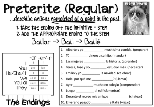 Spanish Preterite Tense Worksheet - Regular