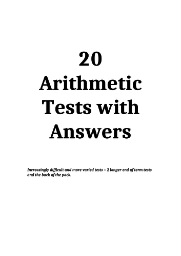 20 Arithmetic Tests with Answers