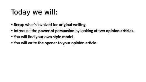 Introducing Opinion Articles