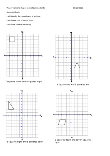 An activity to translate shapes across the four quadrants.