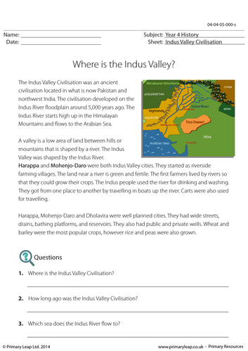 Reading Comprehension - Where is the Indus Valley?
