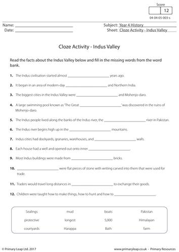 History Resource: Cloze Activity - Indus Valley