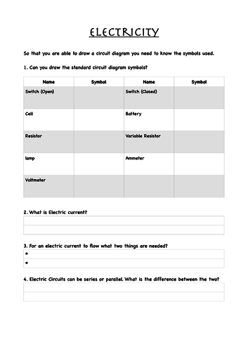 Ks3 Electricity Current And Voltage Recap Worksheet By Aimeelc