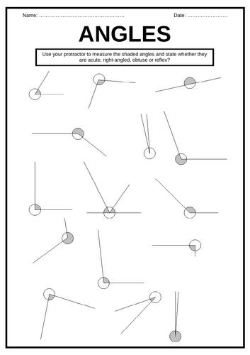 Measure ANGLES worksheet   Teaching Resources