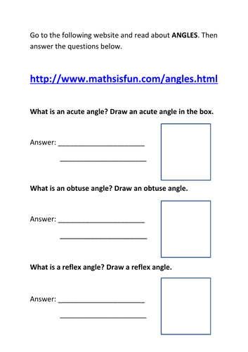 secondary maths teaching resources geometry and measures years   acute obtuse and reflex angle worksheet