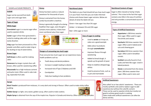 SUGAR and SWEETENERS KNOWLEDGE ORGANISER/REVISION AID