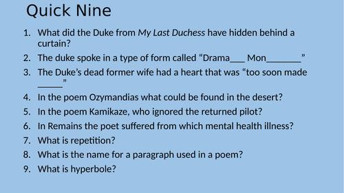Exposure poetry lesson