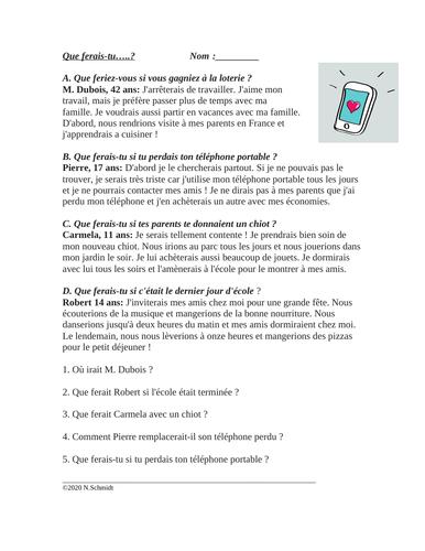 French Conditional Reading: Que ferais-tu ? (Conditionnel)