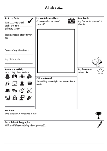 Transition/ new class - all about me fact file