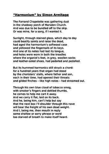 Harmonium by Armitage: Unseen Poetry English Literature AQA