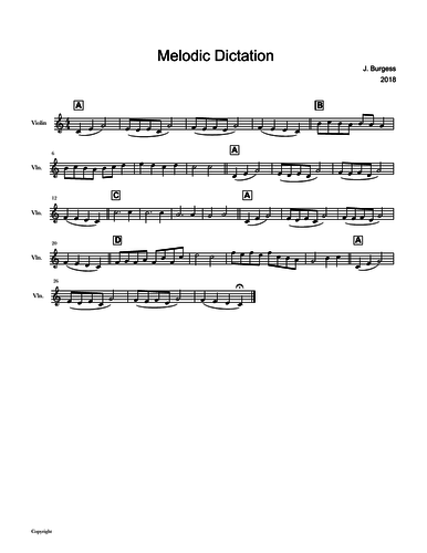 Melodic Dictation Exercise