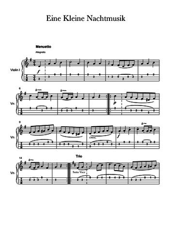 Eine Kleine Nachtmusik 3rd Movement - Ukulele Score