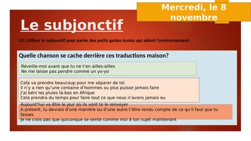 Le subjonctif - introduction A level