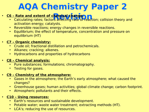 AQA Chemistry Paper 2 GCSE (Combined/Trilogy) Revision power point