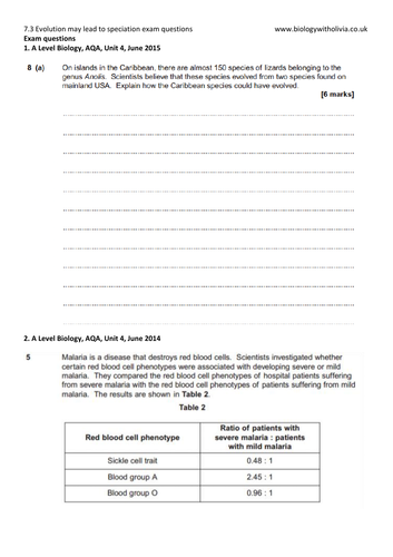 NEW A Level Biology AQA 3 7 4 Populations in ecosystems exam questions and  mark schemes
