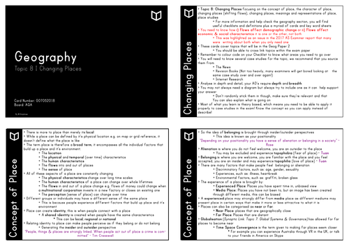 A Level Geography I Chapter Chapter 8 Changing Places Revision Cards