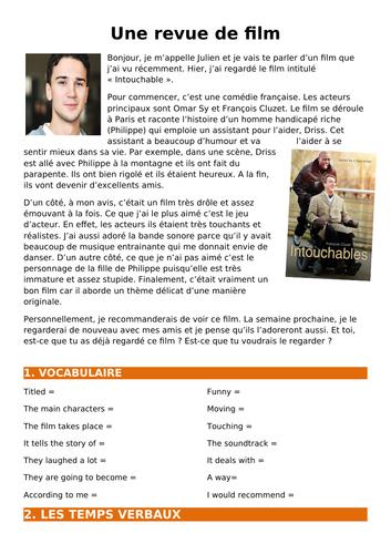 Écrire une critique de film (basé sur Intouchables) / Writing a film review in French