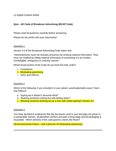 Quiz - UK Code of Broadcast Advertising (BCAP Code) L2 BTEC Media NQF