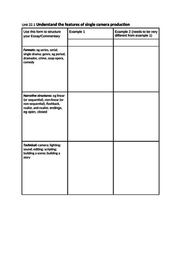 Single Camera Analysis Form