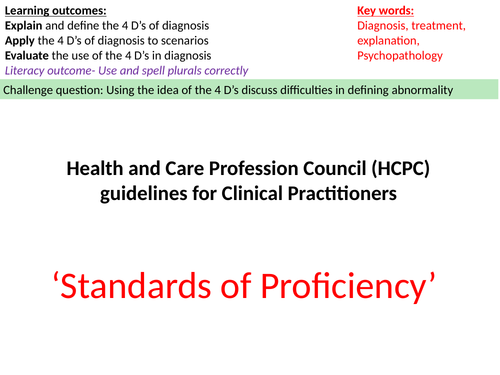 HCPC Guidelines and 4 D's of dianosis