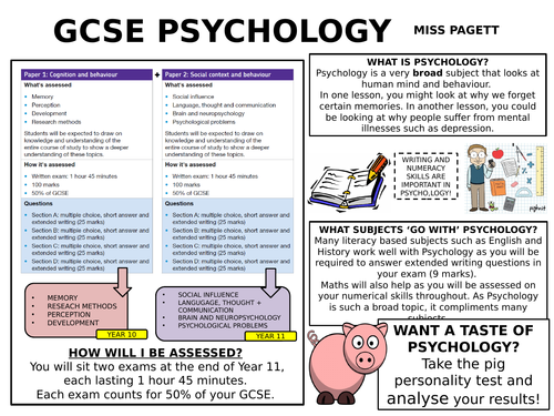 GCSE OPTIONS EVENING POSTER FOR AQA GCSE PSYCHOLOGY
