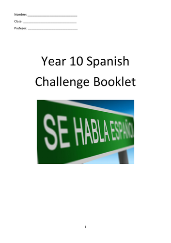 Y10 Spanish Challenge Booklet