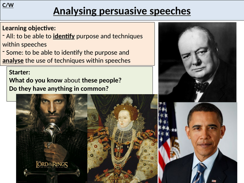 Lesson analysing speeches
