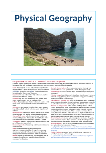 Physical Landscapes - OCR A-level Geography