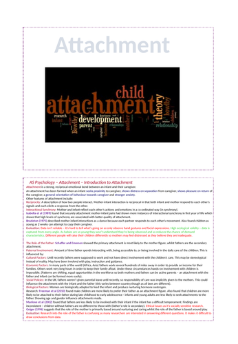 Attachment - AQA Psychology A-level