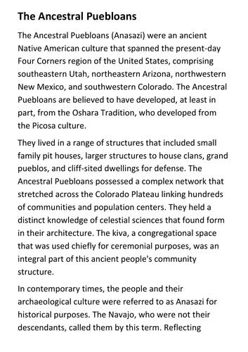 The Ancestral Puebloans (Anasazi) Handout