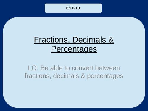 Fractions, Decimals & Percentages KS3