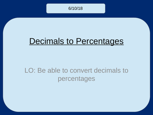 Decimals to Percentages KS3