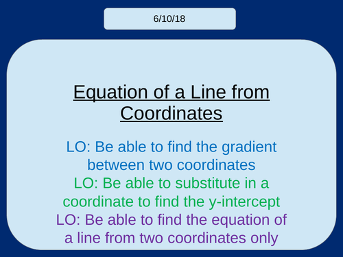 Finding the Equation of a Line from two coordinates KS3/KS4