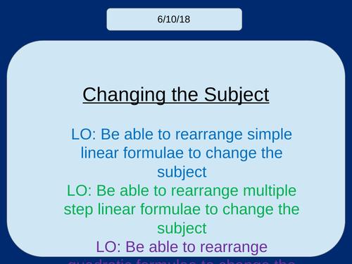 Changing the Subject / Rearranging Formulae KS3/KS4