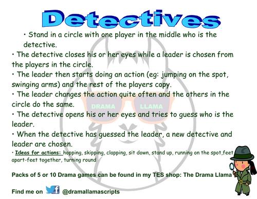 Detectives! Drama Activity/Warm up Game