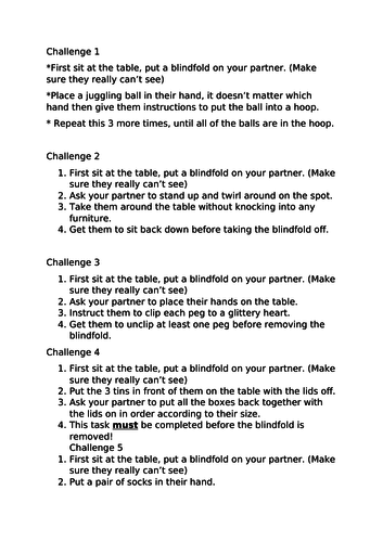 Instruction writing  challenges KS2