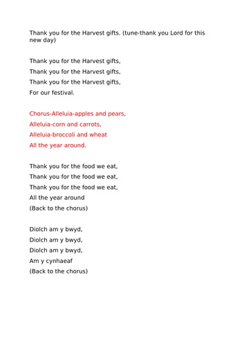 Harvest song for ks2
