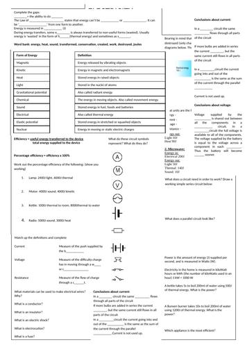 KS3 Electricity Revision Sheet