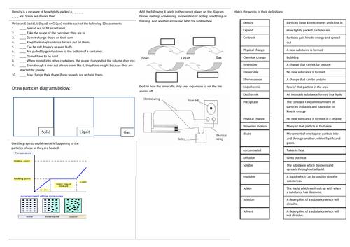 KS3 Particles Revision Sheet