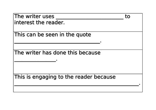 Analysis, Evaluation & Comparison - Sentence Starters