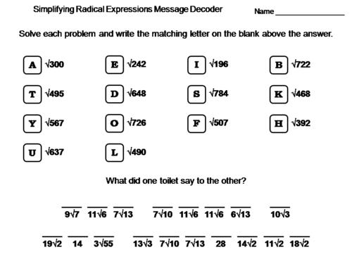 Simplifying Radical Expressions Worksheet: Math Message Decoder