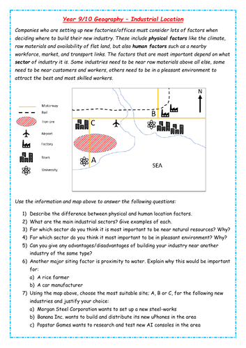 Industrial Location and Map Task - KS3/4 Geography Industry Unit