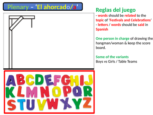 GCSE Spanish - Vocabulary GAME - el ahorcado - Hangman slide